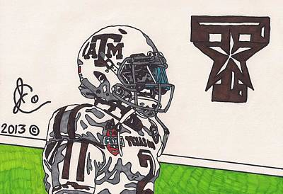 Texas A Drawing - Johnny Manziel 13 by Jeremiah Colley