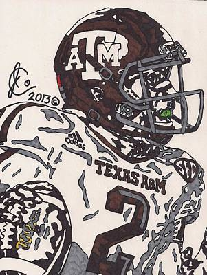 Texas A Drawing - Johnny Manziel 5 by Jeremiah Colley
