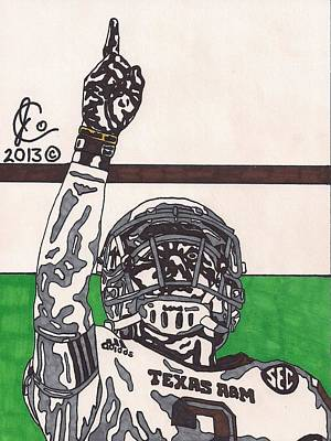 Texas A Drawing - Johnny Manziel 7 by Jeremiah Colley