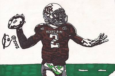 Texas A Drawing - Johnny Menziel 1 by Jeremiah Colley