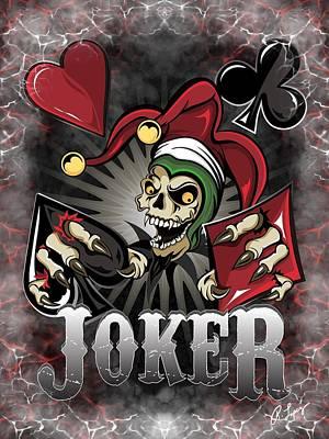 Print featuring the digital art Joker Poker Skull by Raphael Lopez