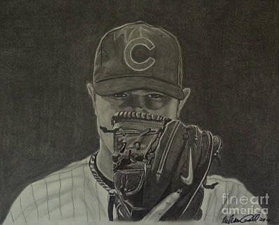 Wrigley Field Drawing - Jon Lester Portrait by Melissa Goodrich