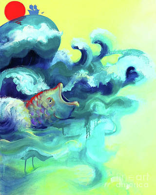 Jonah And The Great Fish Print by Cathy Jacobs