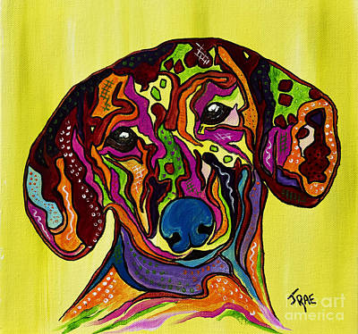 Tendrils Mixed Media - Joni The Dachshund  by Janice Rae Pariza