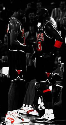 Patrick Ewing Mixed Media - Jordan And Pippen by Brian Reaves