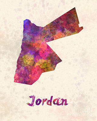 Jordan  In Watercolor Print by Pablo Romero