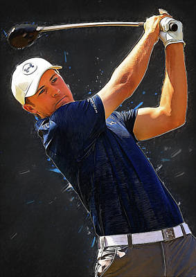 Tiger Woods Digital Art - Jordan Spieth by Semih Yurdabak