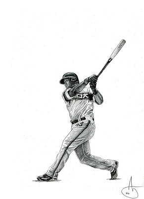 Chicago Baseball Drawing - Jose Abreu by Joshua Sooter