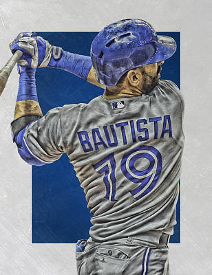 Blue Barn Doors Mixed Media - Jose Bautista Toronto Blue Jays Art 2 by Joe Hamilton