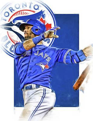 Blue Barn Doors Mixed Media - Jose Bautista Toronto Blue Jays Oil Art by Joe Hamilton