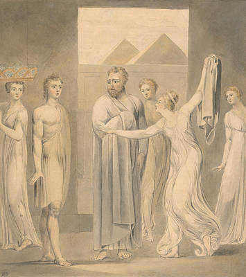 Joseph And Potiphar's Wife Print by William Blake