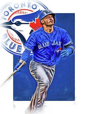Blue Barn Doors Mixed Media - Josh Donaldson Toronto Blue Jays Oil Art by Joe Hamilton