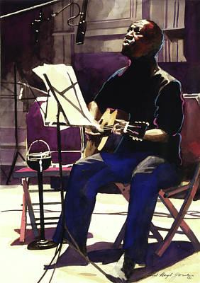 Josh Painting - Josh White Singing The Blues by David Lloyd Glover