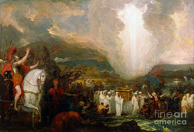 Joshua Passing The River Jordan With The Ark Of The Covenant Print by Celestial Images