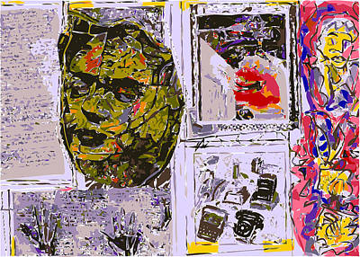 Xerox Art Mixed Media - Journal Page With Large Frida Kahlo Head by F Burton