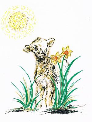 Joyful Drawing - Joyful Baby Lamb by Teresa White