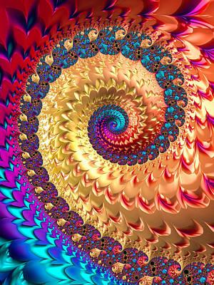 Art And Energetic Digital Art - Joyful Fractal Spiral Full Of Energy by Matthias Hauser