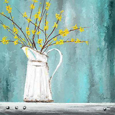 Forsythia Painting - Joys Of Bloom - Forsythia Art by Lourry Legarde