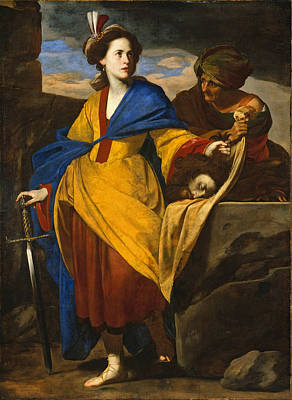 Judith Painting - Judith With The Head Of Holofernes by Massimo Stanzione