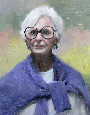 Old Woman Painting - Judy In Blue by Anna Rose Bain