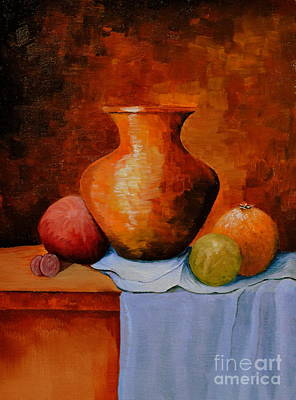 Table Cloth Painting - Jug And Fruit by Martin Schmidt