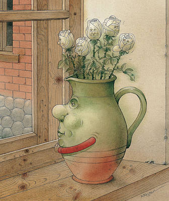 Window Drawing - Jug And Roses by Kestutis Kasparavicius