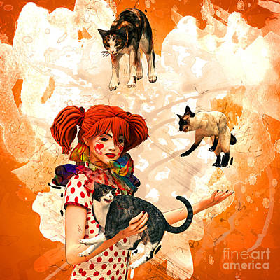 Juggling Cats Print by Methune Hively
