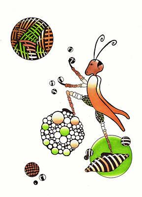 Grasshopper Drawing - Juggling Grasshopper by Cathy Nestroyl