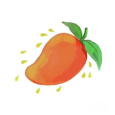 Mango Digital Art - Juicy Mango Fruit Watercolor by Aloysius Patrimonio