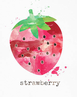 Orange Mixed Media - Juicy Strawberry by Linda Woods