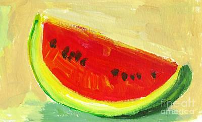 Foodie Painting - Juicy Watermelon - Kitchen Decor Modern Art by Patricia Awapara