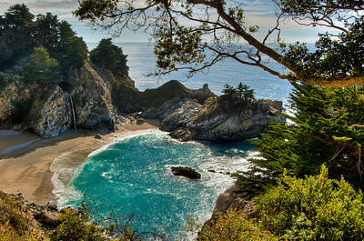 State Beach Near Big Sur Photograph - Julia Pfeiffer State Park Falls by Connie Cooper-Edwards
