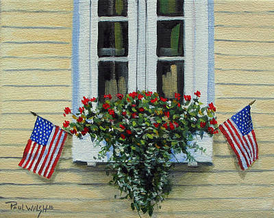 Us Flag Painting - July Flowers by Paul Walsh