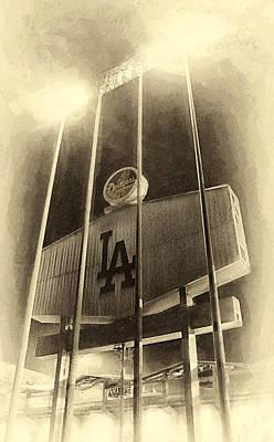 Jumbo Tron At Dodger Stadium Print by Ron Regalado