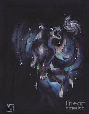 Constellation Painting - Jumping Dog Constellation by Robin Wiesneth