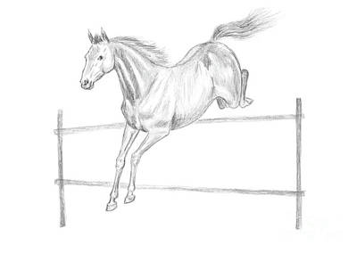 Textured Horse Art Drawing - Jumping Horse Drawing by GoodMood Art