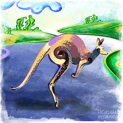 Kangaroo Mixed Media - Jumping Kangaroo by Bedros Awak