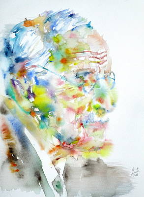 Jung - Watercolor Portrait.4 Print by Fabrizio Cassetta