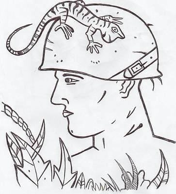 Solider Drawing - Jungle Solider by Lester Noss