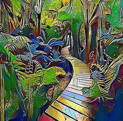 Walkway Drawing - Jungle Way - My Www Vikinek-art.com by Viktor Lebeda