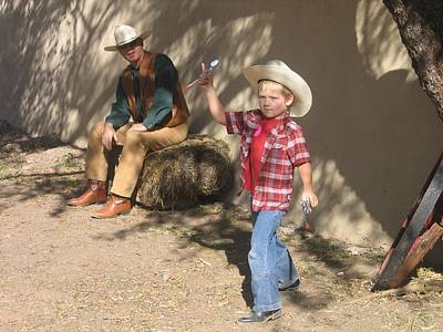 Junior Gunslinger With Doting Dad O.k. Corral Gunfight Site Tombstone Arizona 2004 Print by David Lee Guss
