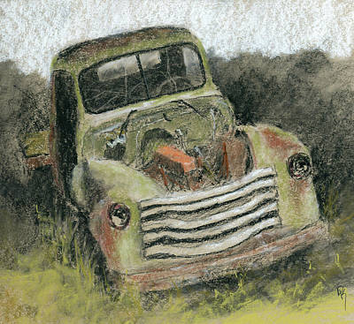 Classic Truck Drawing - Junkyard Chevy by David King