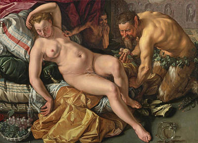 Hendrik Goltzius Painting - Jupiter And Antiope by Hendrik Goltzius