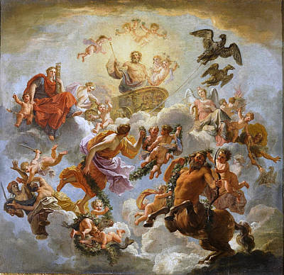 Jupiter Chariot Between Justice And Piety. Study Print by Noel Coypel