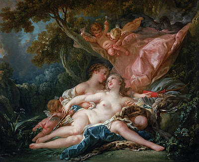 Thunderbolt Painting - Jupiter In The Guise Of Diana, And The Nymph Callisto by Francois Boucher