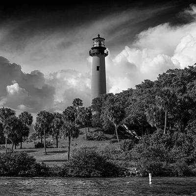 Jupiter Lighthouse Bw Sq Print by Laura Fasulo