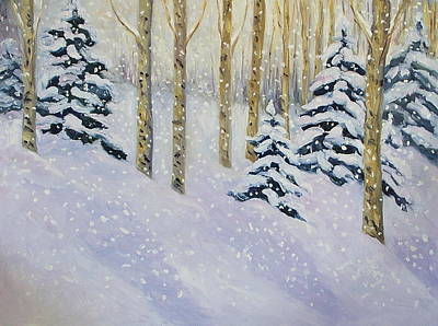 Ski Painting - Just Like Yesterday by Zanobia Shalks