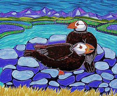 Puffin Painting - Just Puffin Around by Julie Bourbeau