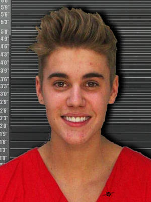 Bieber Painting - Justin Bieber Mug Shot 2014 Color Photo by Tony Rubino