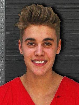 Jail Painting - Justin Bieber Mug Shot Painting 2014 by Tony Rubino